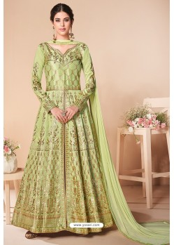 Green Latest Mulberry Silk Embroidered Designer Wedding Anarkali Suit