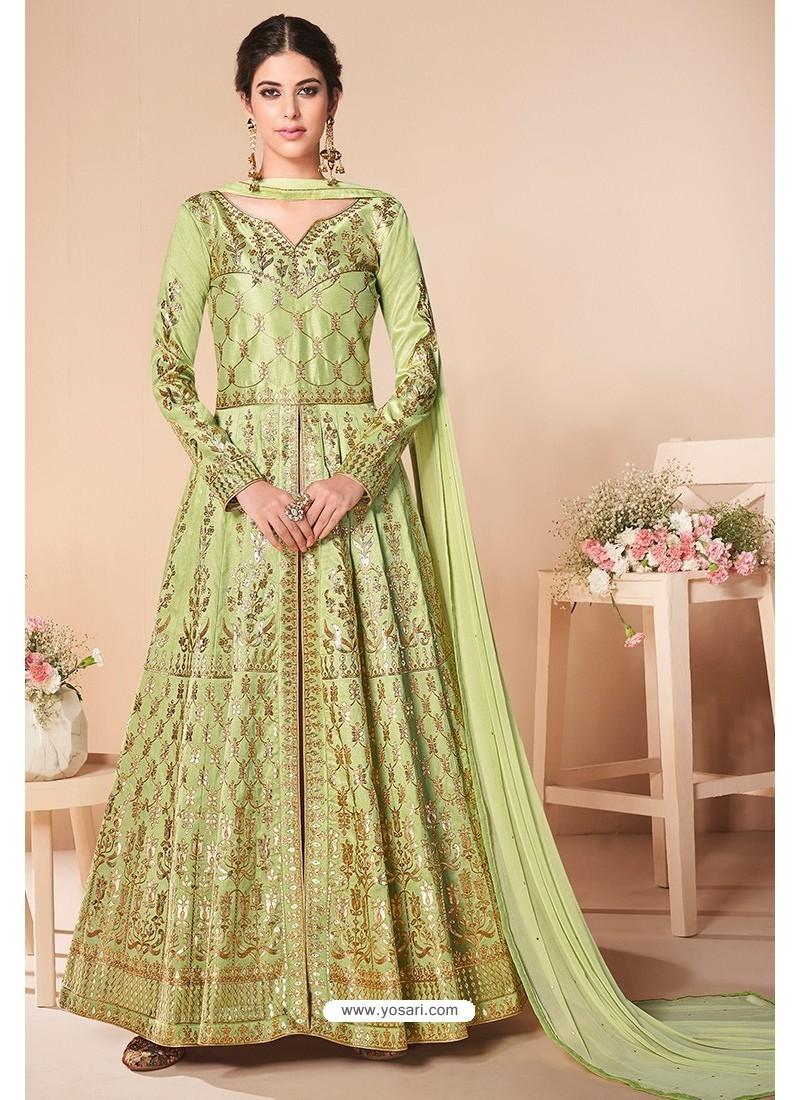 Green Latest Mulberry Silk Embroidered Designer Wedding Anarkali Suit