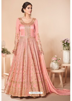 Peach Latest Mulberry Silk Embroidered Designer Wedding Anarkali Suit