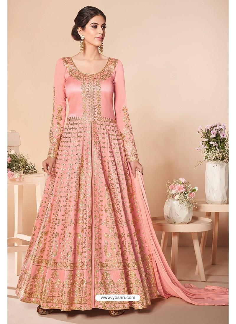 Peach Latest Mulberry Silk Embroidered Designer Wedding Anarkali Suit