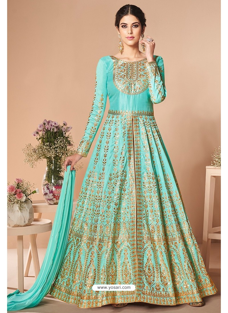 Sky Blue Latest Mulberry Silk Embroidered Designer Wedding Anarkali Suit