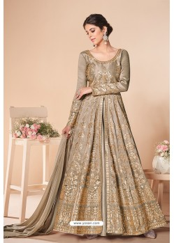 Gold Latest Mulberry Silk Embroidered Designer Wedding Anarkali Suit