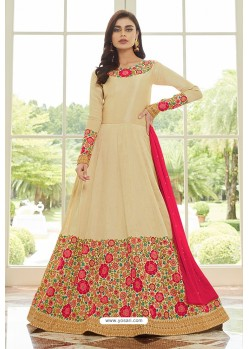 Fabulous Light Beige Latest Silk Embroidered Designer Wedding Anarkali Suit