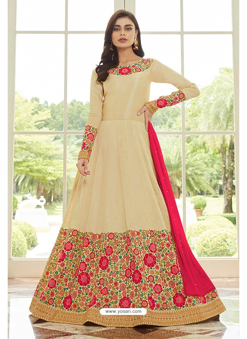 Fabulous Light Beige Latest Silk Embroidered Designer Wedding Anarkali Suit