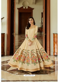 Light Beige Latest Silk Embroidered Designer Wedding Anarkali Suit