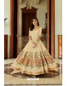 Light Beige Latest Silk Embroidered Designer Wedding Anarkali Suit