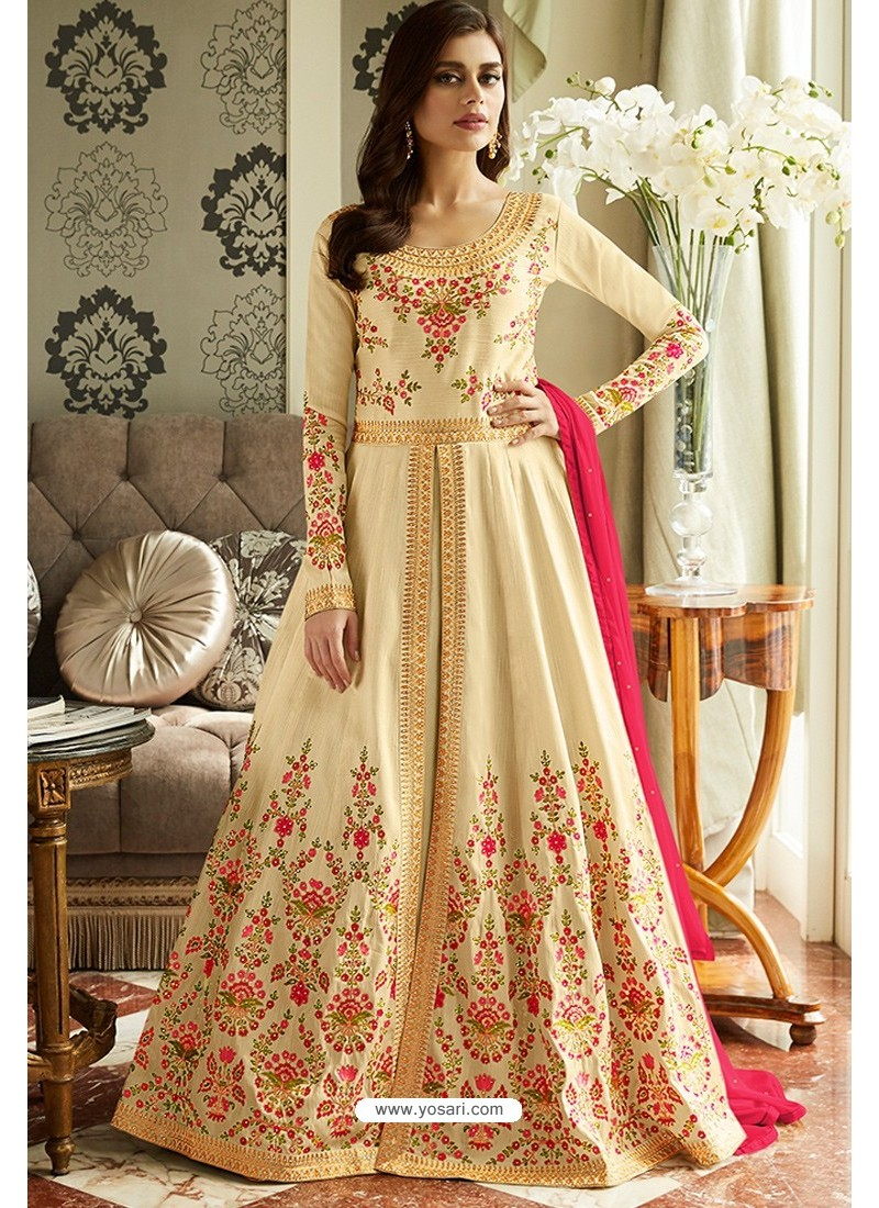 Astonishing Light Beige Latest Silk Embroidered Designer Wedding Anarkali Suit