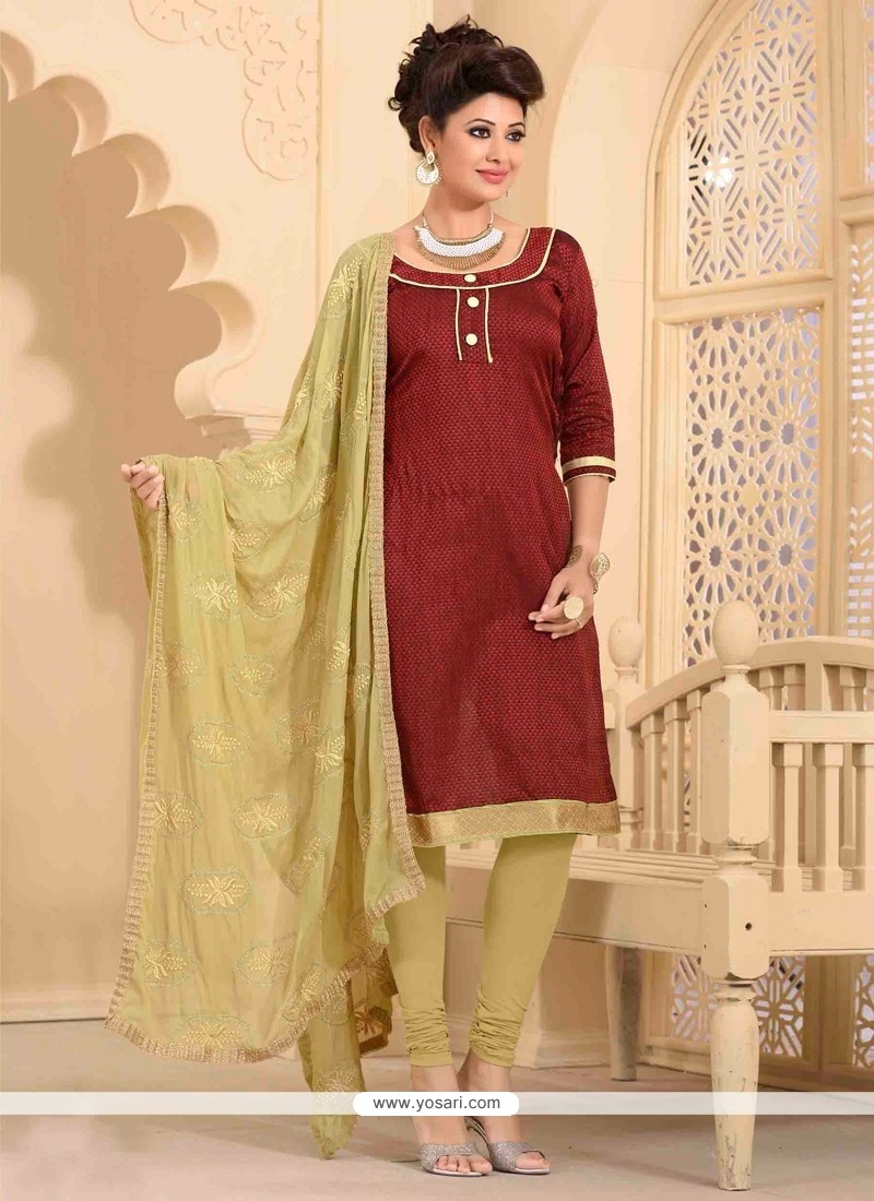 Subtle Maroon Lace Work Banarasi Silk Churidar Salwar Kameez