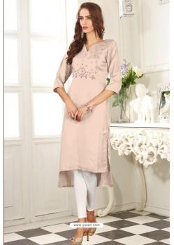 Light Beige Designer Embroidered Party Wear Dolla Silk Kurti