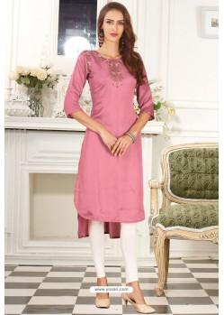 Light Pink Designer Embroidered Party Wear Dolla Silk Kurti