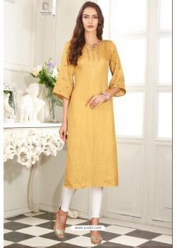 Yellow Designer Embroidered Party Wear Dolla Silk Kurti