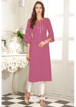 Medium Violet Designer Embroidered Party Wear Dolla Silk Kurti