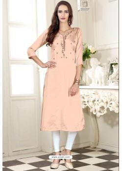 Light Orange Designer Embroidered Party Wear Dolla Silk Kurti
