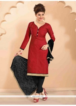Fabulous Jute Silk Churidar Designer Suit