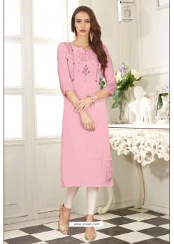 Pink Designer Embroidered Party Wear Dolla Silk Kurti