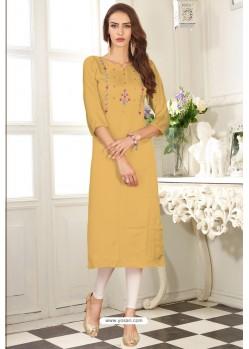 Mustard Designer Embroidered Party Wear Dolla Silk Kurti