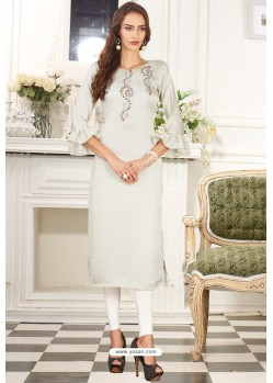 Off White Designer Embroidered Party Wear Dolla Silk Kurti