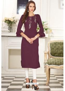 Deep Wine Designer Embroidered Party Wear Dolla Silk Kurti