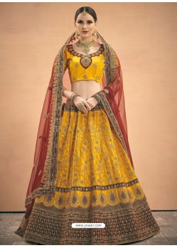 Yellow Heavy Embroidered Designer Wedding Lehenga Choli