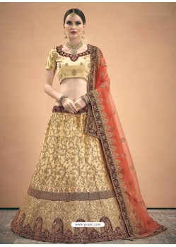 Cream Heavy Embroidered Designer Wedding Lehenga Choli