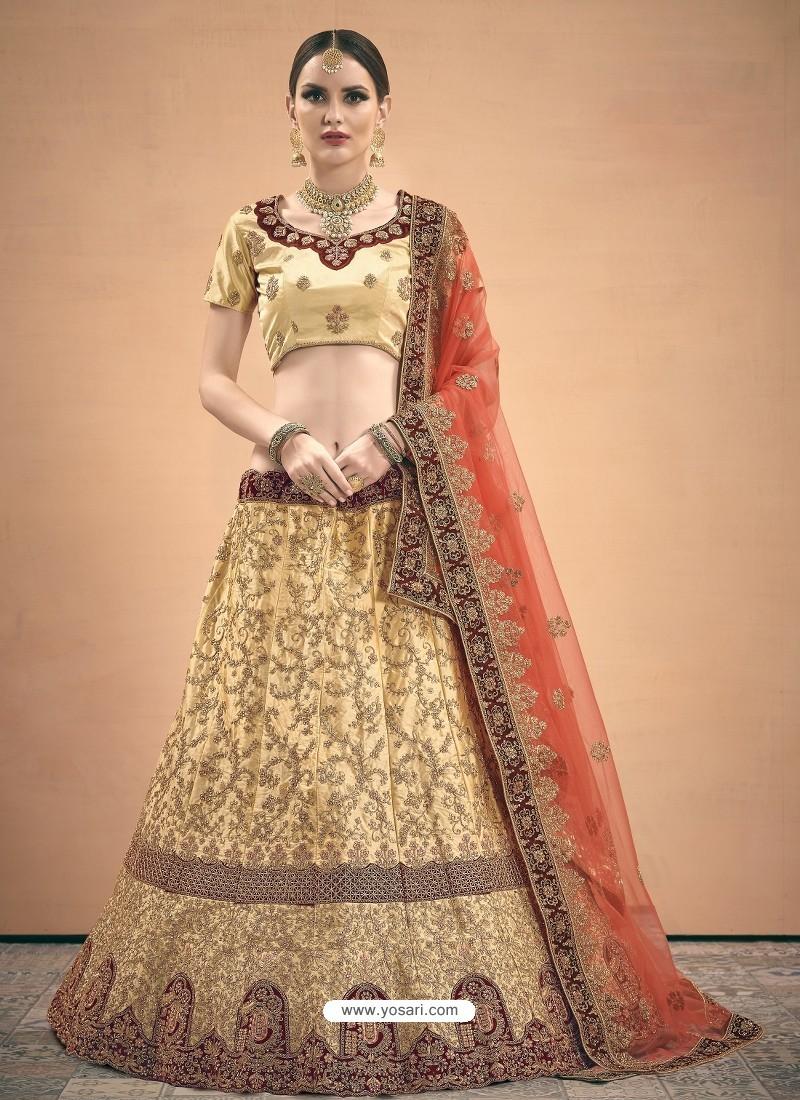 Cream Heavy Embroidered Designer Wedding Lehenga Choli