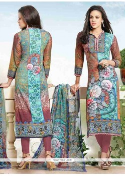 Piquant Cotton Print Work Churidar Designer Suit