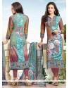 Piquant Cotton Print Work Churidar Designer Suit