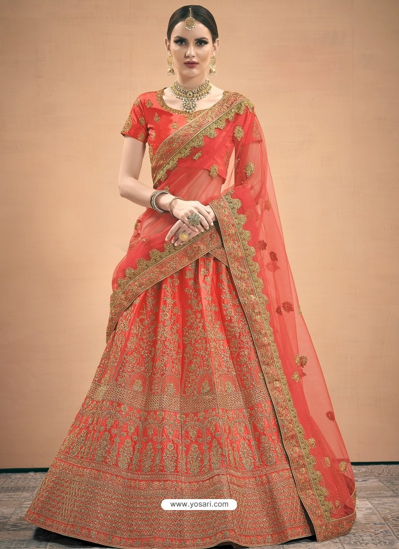 Red Heavy Embroidered Designer Wedding Lehenga Choli