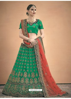 Forest Green Heavy Embroidered Designer Wedding Lehenga Choli