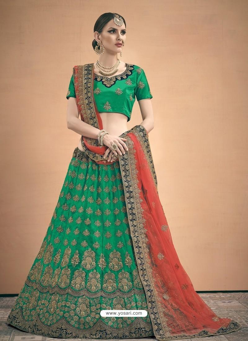 Forest Green Heavy Embroidered Designer Wedding Lehenga Choli