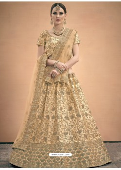 Beige Heavy Embroidered Designer Wedding Lehenga Choli