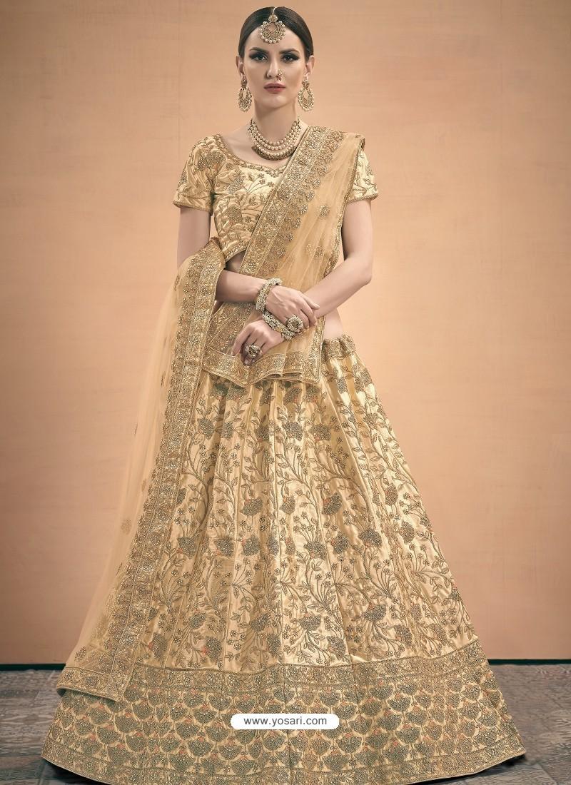 Beige Heavy Embroidered Designer Wedding Lehenga Choli