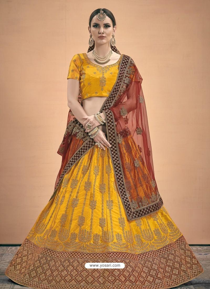 Yellow Heavy Embroidered Designer Wedding Lehenga Choli