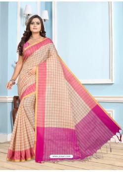 Pink Casual Designer Printed Cotton Sari