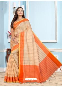 Orange Casual Designer Printed Cotton Sari