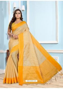 Yellow Casual Designer Printed Cotton Sari