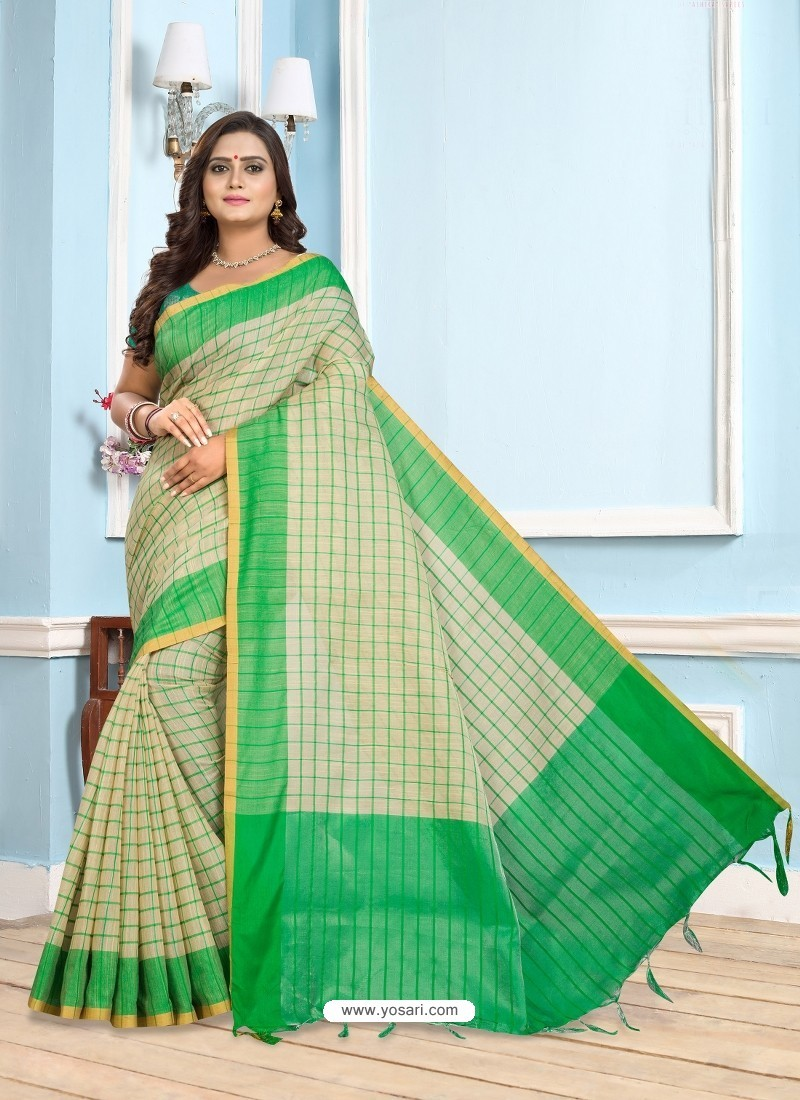 Forest Green Casual Designer Printed Cotton Sari