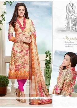 Girlish Cotton Multi Colour Churidar Designer Suit
