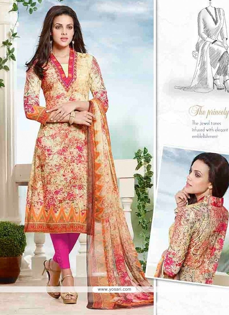 Girlish Cotton Multi Colour Churidar Designer Suit