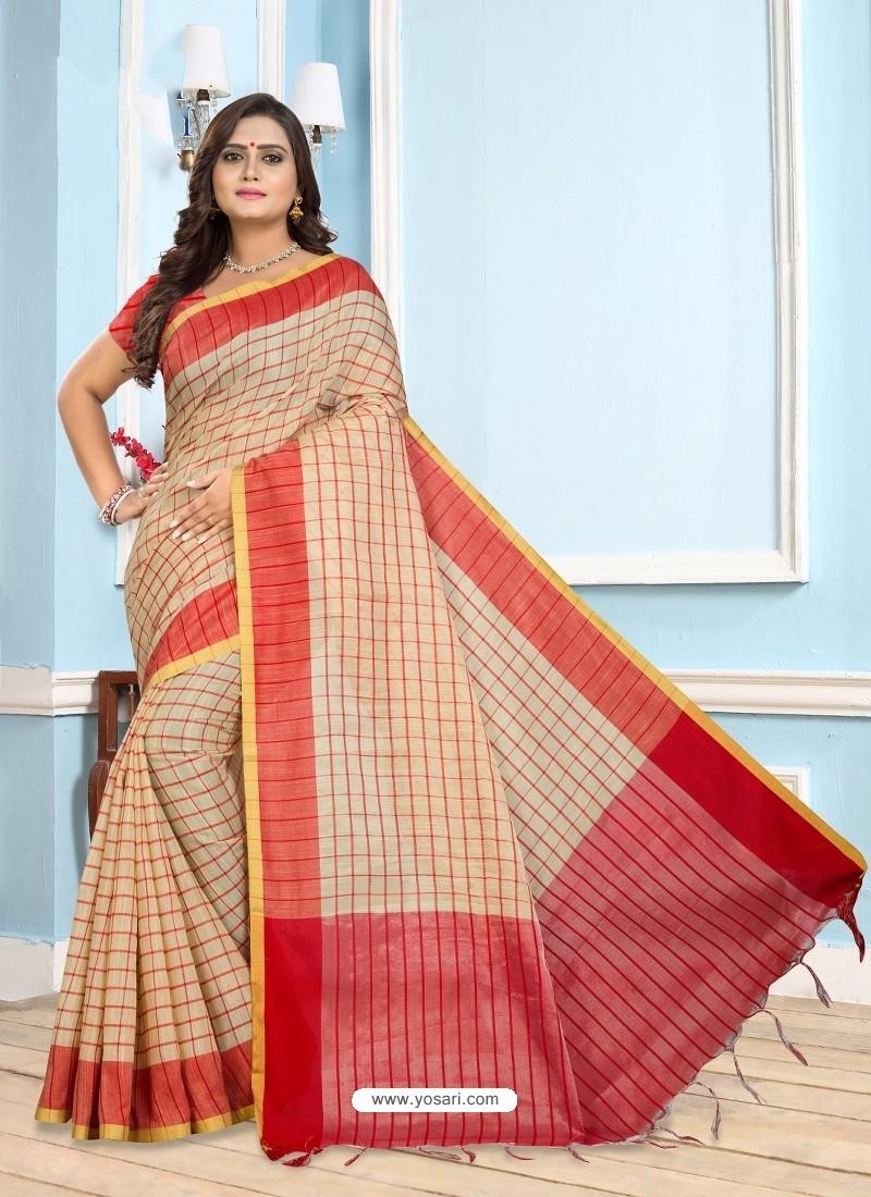 Red Casual Designer Printed Cotton Sari