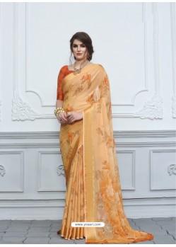 Light Orange Casual Designer Printed Chiffon Sari