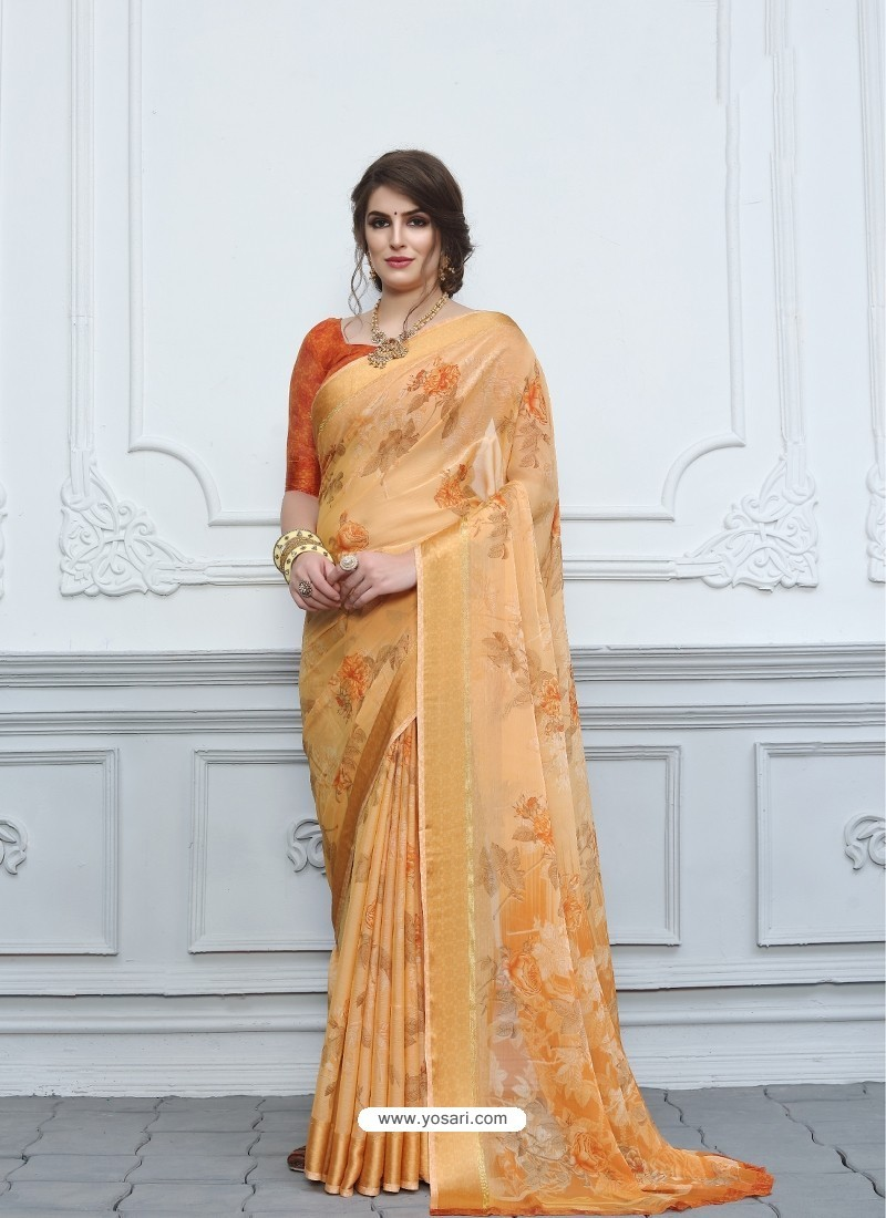 Light Orange Casual Designer Printed Chiffon Sari