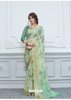 Aqua Mint Casual Designer Printed Chiffon Sari