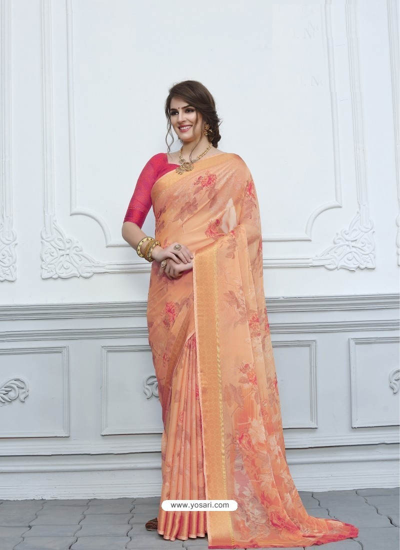 Peach Casual Designer Printed Chiffon Sari
