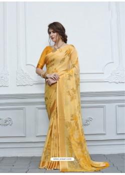 Yellow Casual Designer Printed Chiffon Sari
