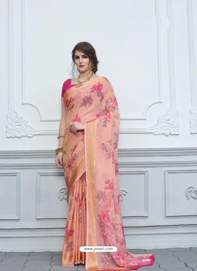 Pink Casual Designer Printed Chiffon Sari