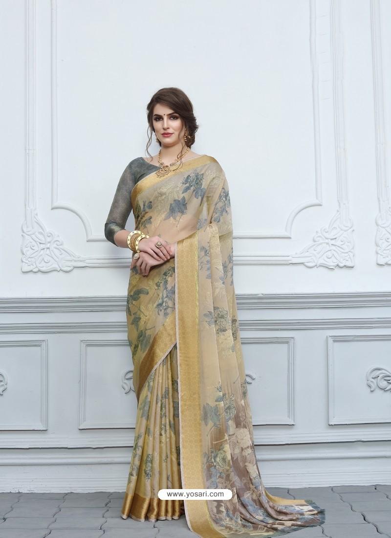 Beige Casual Designer Printed Chiffon Sari
