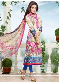 Zesty Cotton Print Work Churidar Designer Suit