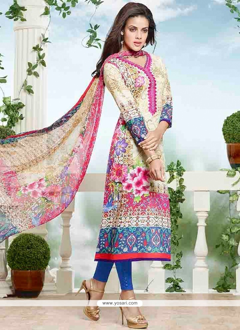 Zesty Cotton Print Work Churidar Designer Suit