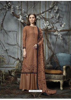 Rust Designer Wear Pure Pashmina Jacquard Palazzo Salwar Suit